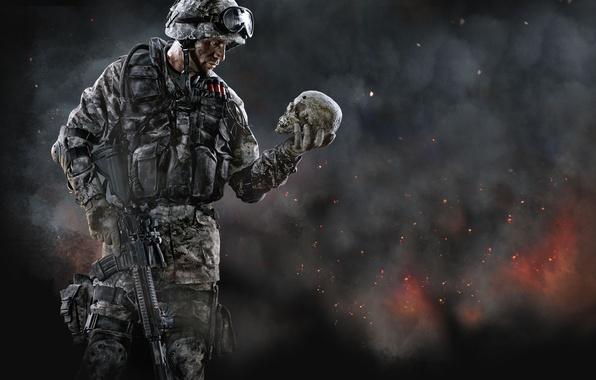 Обои картинки фото warface, crytek, солдат, винтовка, бронежилет