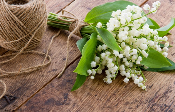 Картинка цветы, весна, белые, нитки, ландыши, букетик, моток