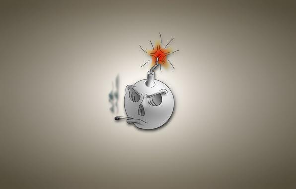 Картинка дым, бомба, фитиль, сигарета, светлый фон