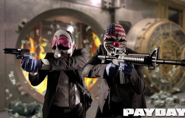 Картинка оружие, бандиты, ограбление, Payday 2, Overkill Software, AMCAR, 505 Games