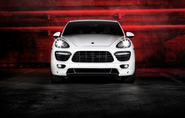 Картинка блики, Porsche, white, Vorsteiner, front, Cayenne, 958