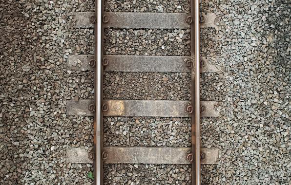 Картинка камни, рельсы, железная дорога, вид сверху