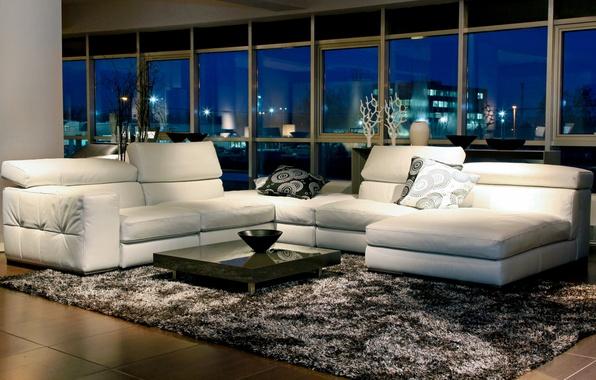 Картинка белый, ночь, дизайн, стиль, комната, диван, ковер, мебель, окна, интерьер, подушки