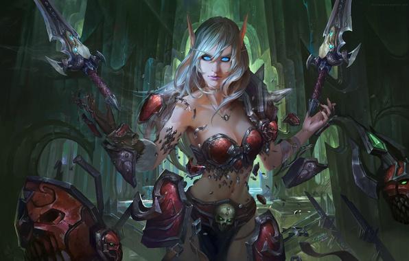 Картинка девушка, World of Warcraft, эльфийка, фан-арт, Blood Elf, Chen Bo
