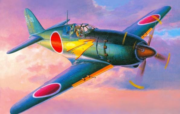 Картинка небо, рисунок, арт, Mitsubishi, самолёт, Вторая мировая война, японский, истребитель-перехватчик, J2M Raiden