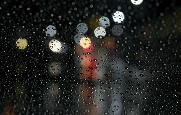 Картинка стекло, вода, капли, макро, дождь, боке