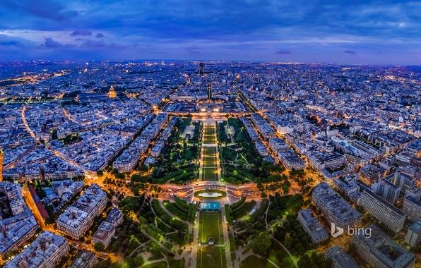 Картинка ночь, огни, Франция, Париж, панорама, вид с Эйфелевой башни
