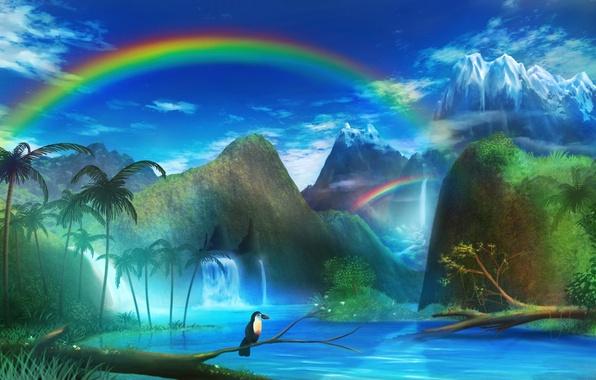 Картинка пейзаж, горы, река, пальмы, птица, радуга, арт, monorisu