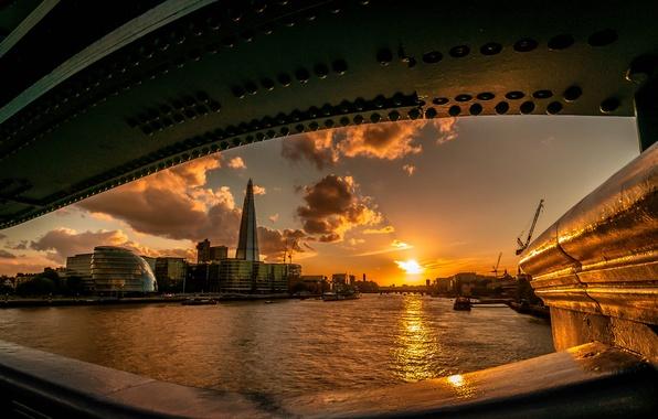 Картинка солнце, закат, мост, река, Лондон