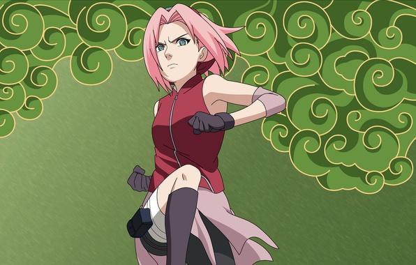 Картинка прыжок, сакура, перчатки, наруто, повязка, Naruto, Sakura, кулаки, розовые волосы, Haruno