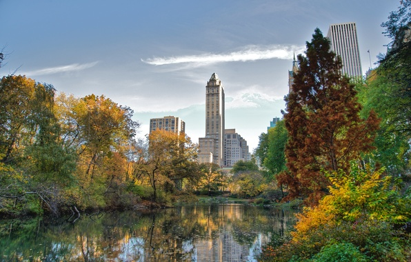 Картинка город, озеро, обои, небоскребы, нью-йорк, Park, Central, NYC, wallpapers, new york, манхэттен, manhattan, central park, …