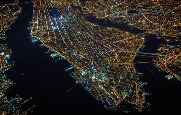 Картинка lights, USA, United States, night, New York, Manhattan, NYC, New York City, island, evening, architecture, …
