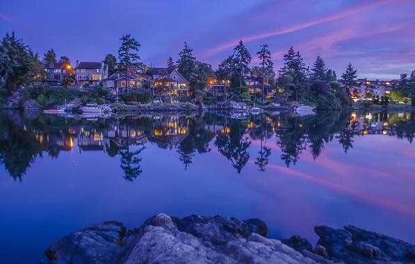 Картинка деревья, отражение, река, пристань, дома, Канада, Canada, British Columbia, катера, Британская Колумбия, Vancouver Island, остров …