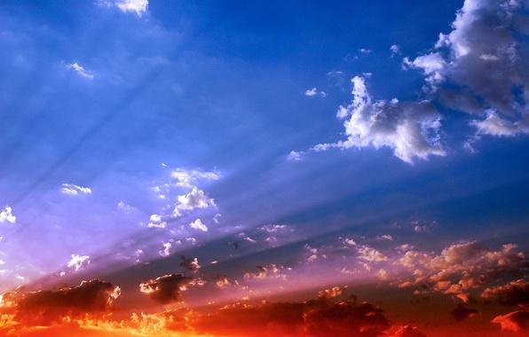 Картинка небо, облака, свет, цвет