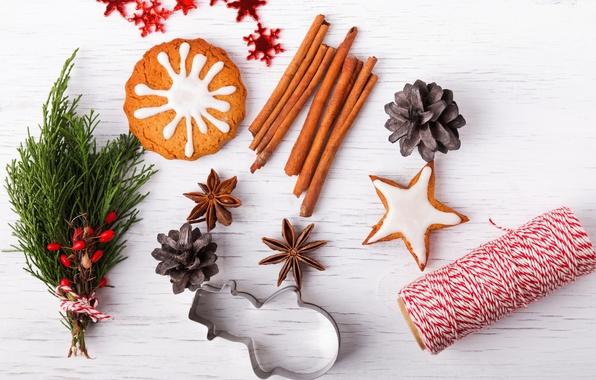 Картинка Новый Год, печенье, Рождество, корица, Christmas, New Year, специи, decoration
