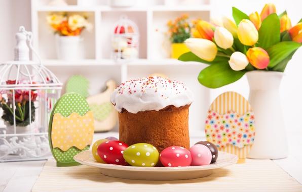 Картинка стол, яйца, Пасха, тюльпаны, cake, кулич, выпечка, tulips, глазурь, spring, Easter, eggs, holiday, decoration, blessed