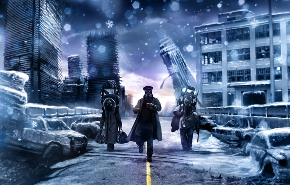 Картинка дорога, апокалипсис, кружка, противогаз, капитан, трое, идут, романтика апокалипсиса, romantically apocalyptic