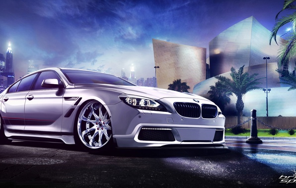 Картинка белый, ночь, город, пальмы, бмв, BMW, white, небоскрёбы, front, обвес, 6 Series