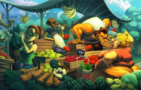 Картинка овощи, картинка, рынок, продавец, базар, характр