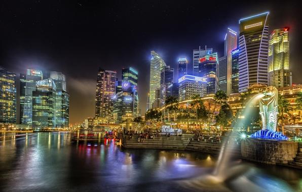 Картинка здания, дома, вечер, Сингапур, высотки, Singapore, naght, sity, огни.