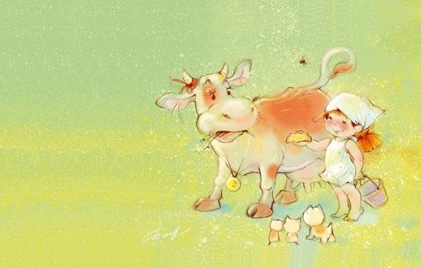 Картинка лето, настроение, корова, деревня, арт, девочка, котята, детская, угощение, Екатерина Бабок