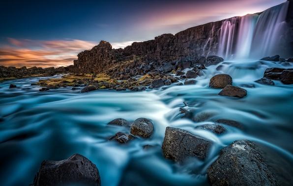 Картинка река, камни, стена, водопад, Исландия, Iceland, Arnessysla, Oxara river, река Эхсарау, Эхсараурфосс, Oxararfoss