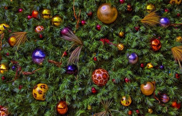 Картинка шарики, украшения, фон, праздник, игрушки, новый год, рождество, ель, обработка, ёлка, ёлочка, хвоя, ёлочные игрушки, …
