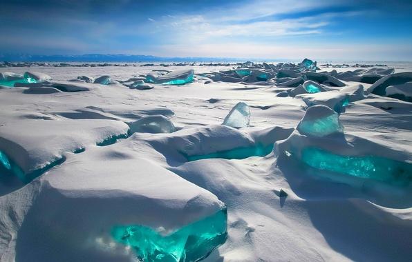 Картинка Небо, Зима, Горы, Озеро, Снег, Байкал, ice, Россия, Лёд, Russia, sky, winter, mountains, snow, Lake, …