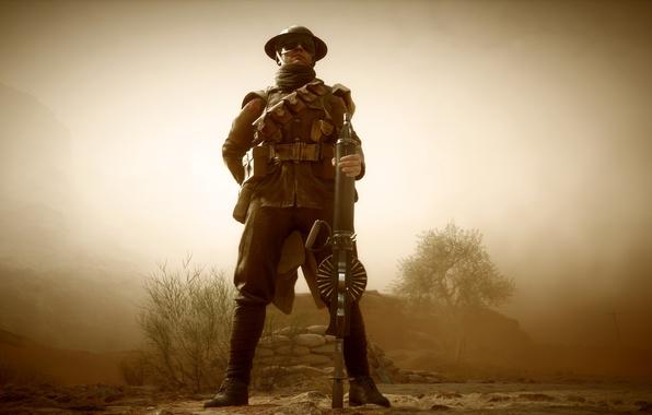 Картинка оружие, война, игра, солдат, пулемет, британский, Electronic Arts, Battlefield 1