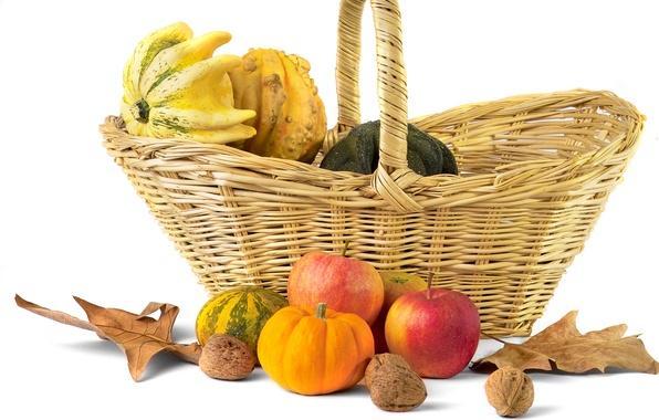 Картинка осень, листья, корзина, яблоки, тыква, орехи, натюрморт, оыощи