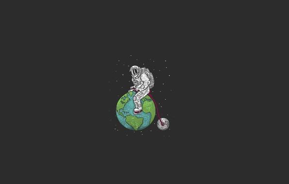 Картинка космос, звезды, велосипед, земля, луна, спутник, минимализм, скафандр, бездна, астронавт, планет