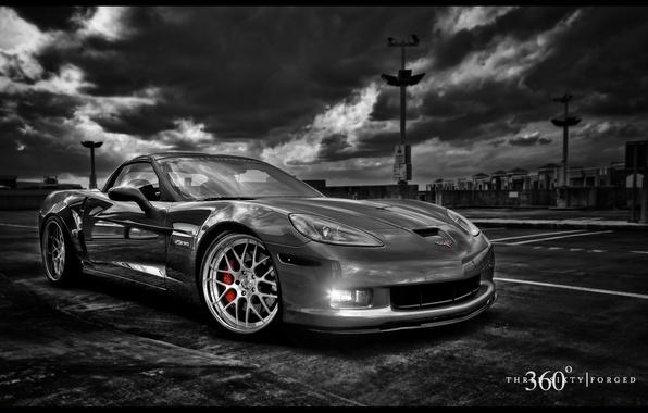 Картинка чёрно-белое, ч/б, corvette, 360, chevrolet