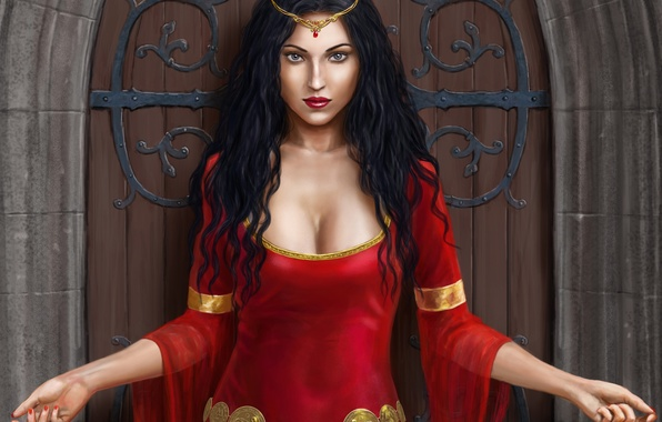 Картинка девушка, замок, руки, платье, дверь, арт, в красном, Harbinger Chronicles, Isadora