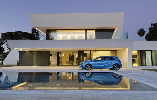 Фото обои синий, A class, дом, Мерседес, Mercedes, бассейн