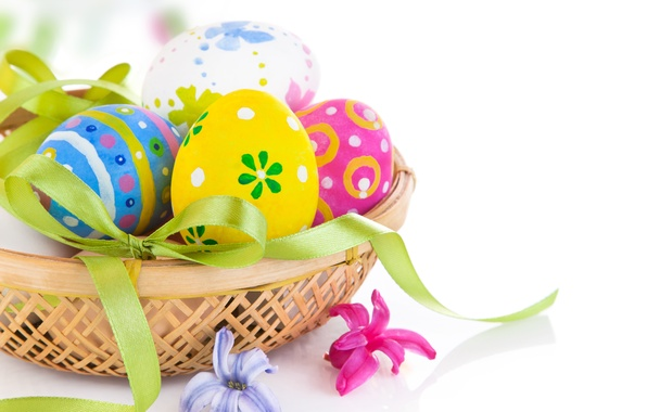Картинка праздник, корзина, яйца, пасха, бантик, Easter, egg