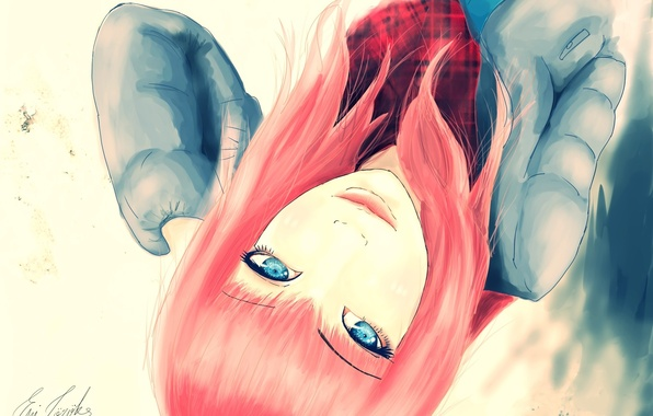 Картинка взгляд, девушка, лицо, волосы, шарф, арт, куртка, голубые глаза, живопись