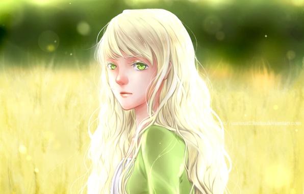 Картинка лето, взгляд, девушка, аниме, арт, белые волосы, желтые глаза