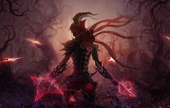 Картинка лес, ночь, оружие, меч, арт, броня, стрелы, демоны, охотник, колчан, diablo 3, арбалет, KoTnoneKoT, на …