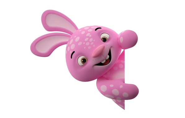 Картинка character, monster, smile, rabbit, pink, funny, cute