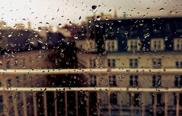 Картинка осень, стекло, капли, город, дождь, окно, мокрое