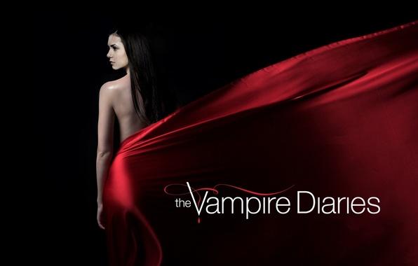 Картинка актриса, брюнетка, сериал, черный фон, Nina Dobrev, Нина Добрев, The Vampire Diaries, Дневники вампира