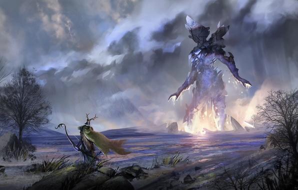 Картинка река, ветер, человек, лук, арт, шлем, плащ, моснтр