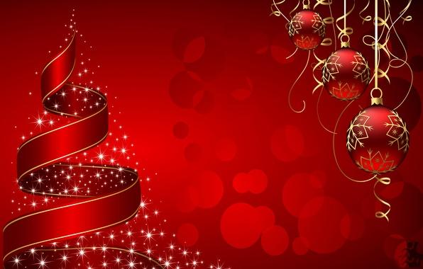 Картинка шарики, украшения, вектор, Новый Год, Рождество, лента, открытка, конус