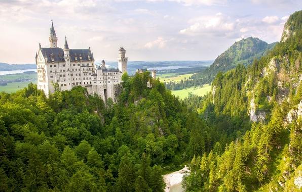 Картинка лес, горы, Германия, Бавария, панорама, Germany, Bavaria, Neuschwanstein Castle, Замок Нойшванштайн