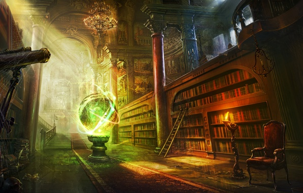 Картинка комната, магия, книги, шар, свеча, паутина, кресло, арт, лестница, библиотека, сфера, телескоп, полки