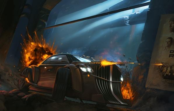 Картинка машина, огонь, взрывы, арт, death race