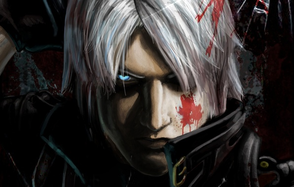 Картинка кровь, меч, sword, blood, охотник, Dante, Данте, game wallpapers, фанарт, fanart, Rebellion, Ребеллион, demon hunter, …