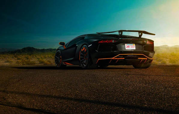 Картинка Lamborghini, Sky, Blue, Black, Sun, LP700-4, Aventador, Spoiler, Rear