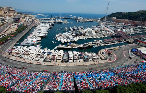 Картинка море, город, побережье, спорт, трасса, яхты, гонки, катера, трибуны, зрители, Монако, Формула-1, Circuit de Monaco, …