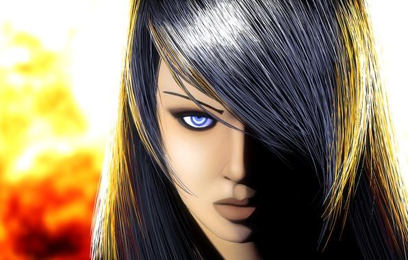 Картинка взгляд, девушка, свет, лицо, фон, волосы, арт, губы, голубые глаза